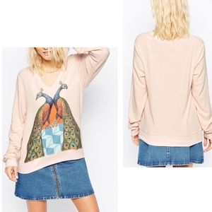 WILDFOX Peacock Palace Pink V-Neck Pullover